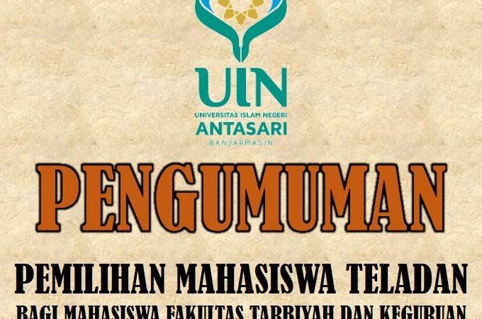 PENGUMUMAN MAHASISWA TELADAN